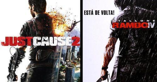 Games/HQs: Quando as capas dos games copiam os cartazes dos filmes Just-Cause-II-Rambo-IV