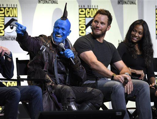 """Michael Rooker, from left, Chris Pratt and Zoe Saldana attend the """"Guardians of the Galaxy Vol. 2"""" panel on day 3 of Comic-Con International on Saturday, July 23, 2016, in San Diego. (Photo by Chris Pizzello/Invision/AP)"""